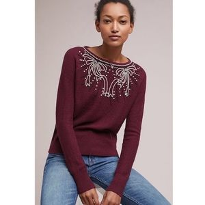Anthropologie Field Flower Pearled Bow Sweater